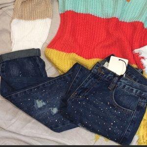 Sequined Distressed Denim Jeans